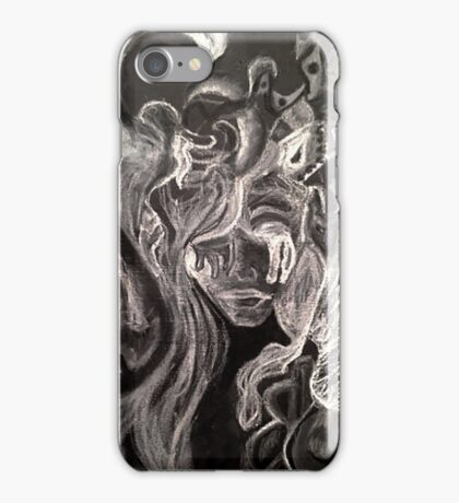 black & white face with weird hair iPhone Case/Skin