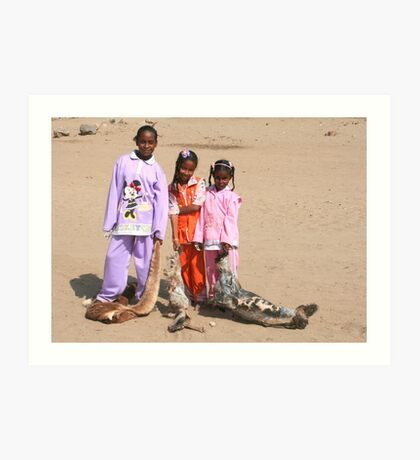 Girls in a Nubian Village Art Print
