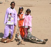 Girls in a Nubian Village by Laurel Talabere