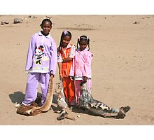 Girls in a Nubian Village Photographic Print