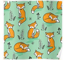 Dreamy Fox in Green Poster