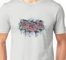 Grunge Roses with Splatters Unisex T-Shirt