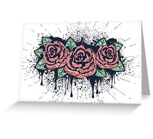 Grunge Roses with Splatters Greeting Card