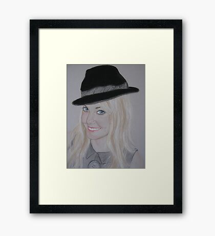 My daughter Sharon with her cheeky bowler hat Framed Print