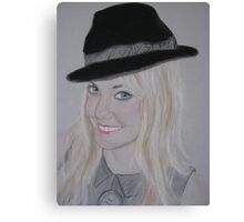 My daughter Sharon with her cheeky bowler hat Canvas Print