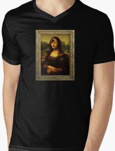 Mona Lisa Time Mens V-Neck T-Shirt