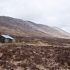 Bearnais Bothy with Bealach Bearnais beyond, Scotland by Michael Firkins