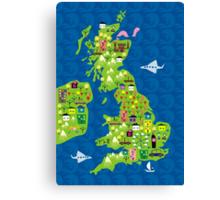 cartoon map of the UK Canvas Print