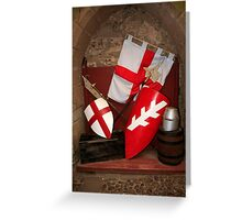 Medieval Sheilds and flags of England Greeting Card