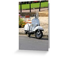 White Vespa Scooter Greeting Card
