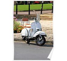 White Vespa Scooter Poster