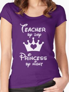 Teacher By Day Princess By Night  Women's Fitted Scoop T-Shirt