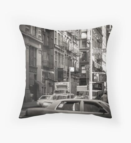 Toned streetscape in Broadway Throw Pillow