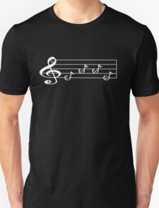 LOVE  - Words in Music - V-Note Creations (white text) Unisex T-Shirt