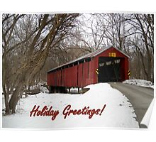 Charlton Covered Bridge-Happy Holidays Poster