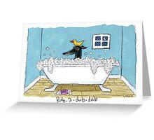 Greyhound Bath Night (Black hound) Greeting Card