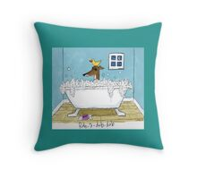 Greyhound Bath Night Throw Pillow