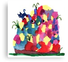 Happy Mound and Cat Canvas Print