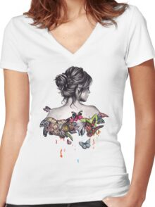 Butterfly Effect  Women's Fitted V-Neck T-Shirt