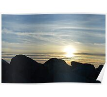 Sunset Through The Rocks Poster