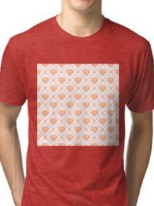 Peach Diamond Grid Pattern Tri-blend T-Shirt