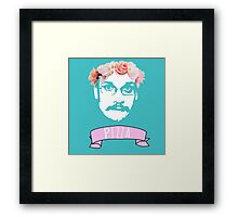 Hipster Pizza John - Blue Framed Print