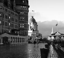 Boardwalk in Quebec ~ Black & White by Lucinda Walter
