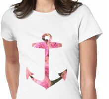 Pink Rose Floral Anchor Womens Fitted T-Shirt