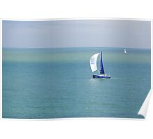 Yachts Sailing in Ventnor Bay Poster