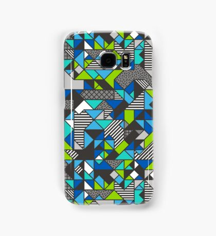 Geometric Shapes and Triangles Blue Mint Green Samsung Galaxy Case/Skin