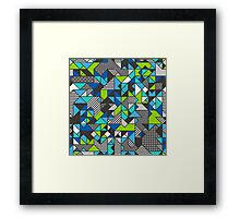 Geometric Shapes and Triangles Blue Mint Green Framed Print