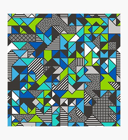 Geometric Shapes and Triangles Blue Mint Green Photographic Print