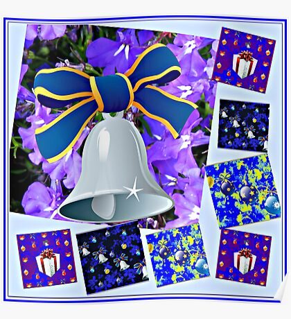 Christmas in Blue Collage Poster