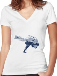 Judo Throw in Gi 2 Women's Fitted V-Neck T-Shirt