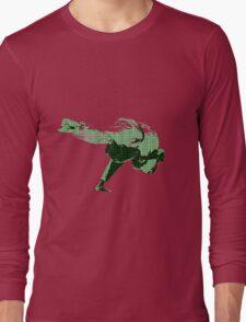 Judo Throw in Gi 2 Green Long Sleeve T-Shirt