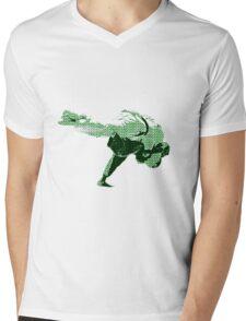 Judo Throw in Gi 2 Green Mens V-Neck T-Shirt
