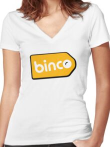 Binco Tag Women's Fitted V-Neck T-Shirt