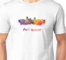 Fort Wayne skyline in watercolor Unisex T-Shirt