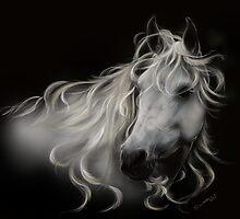 Fantasy White Stallion - Horse Portrait by Concetta Kilmer