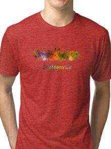 Jacksonville skyline in watercolor Tri-blend T-Shirt