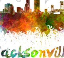 Jacksonville skyline in watercolor Sticker