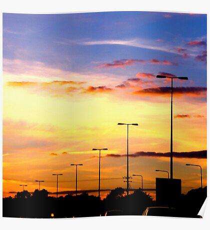 Sunset Lamp Posts Poster
