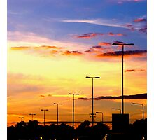 Sunset Lamp Posts Photographic Print