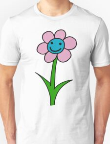 Happy smiling flower - pink and blue Unisex T-Shirt