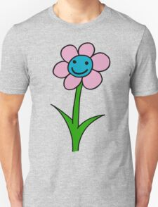 Happy smiling flower - pink and blue T-Shirt