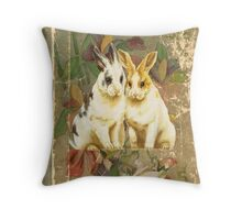 Easter Rabbit Bunnies Victorian Book Throw Pillow