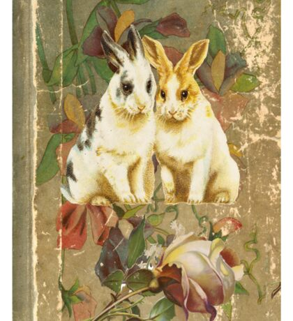 Easter Rabbit Bunnies Victorian Book Sticker