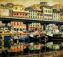Textured CityScape Genova, reflections on the port by Francesco Malpensi