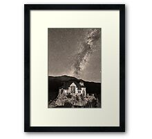 St Malo Miky Way Perseid Meteor Shower BW Sepia Framed Print