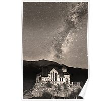 St Malo Miky Way Perseid Meteor Shower BW Sepia Poster